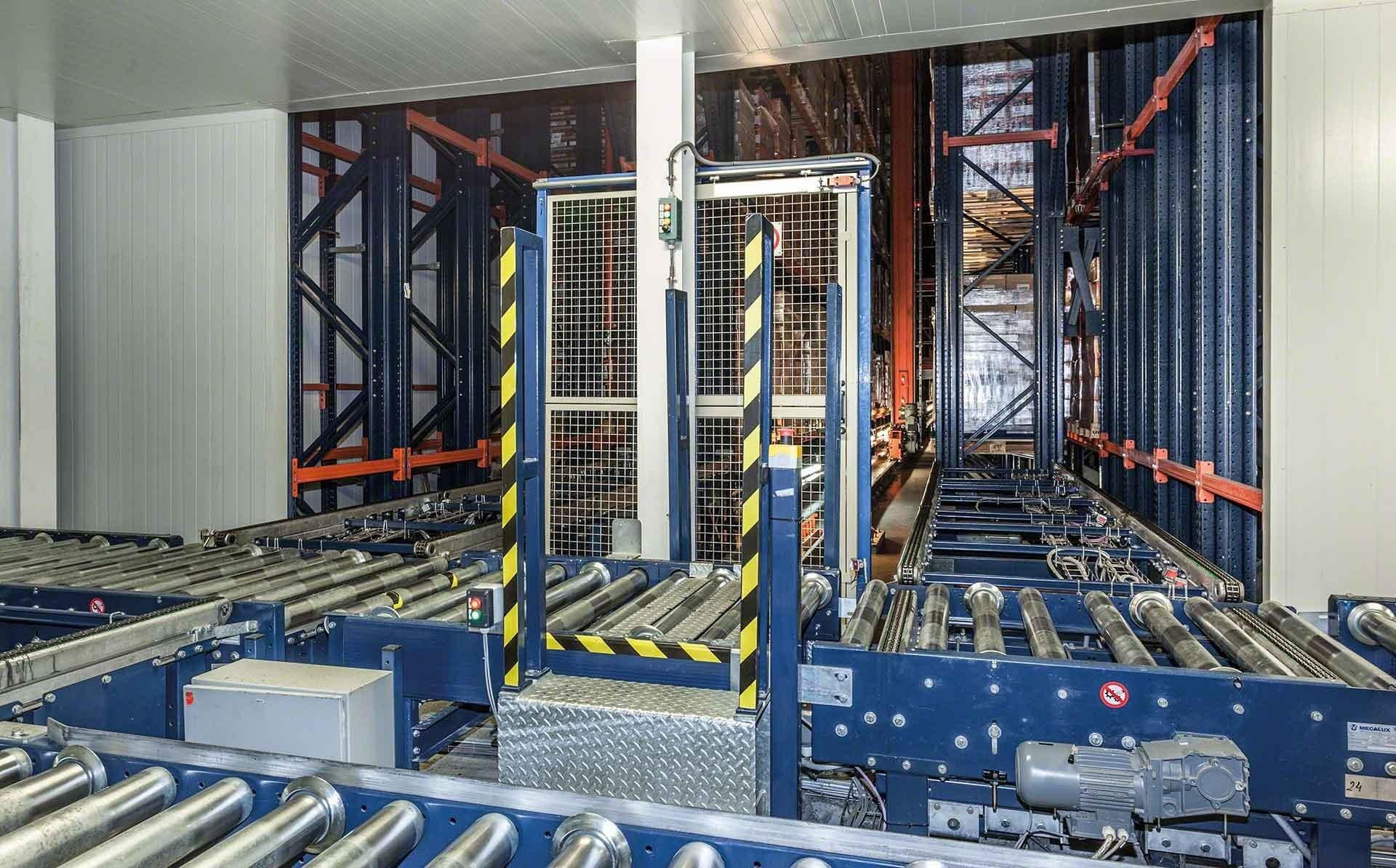 Circuito de transportadores y picking automático en el almacén de Delaviuda