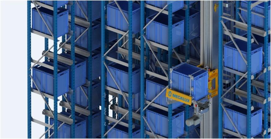 Un almacén automático miniload en el centro logístico de Clics en Bélgica