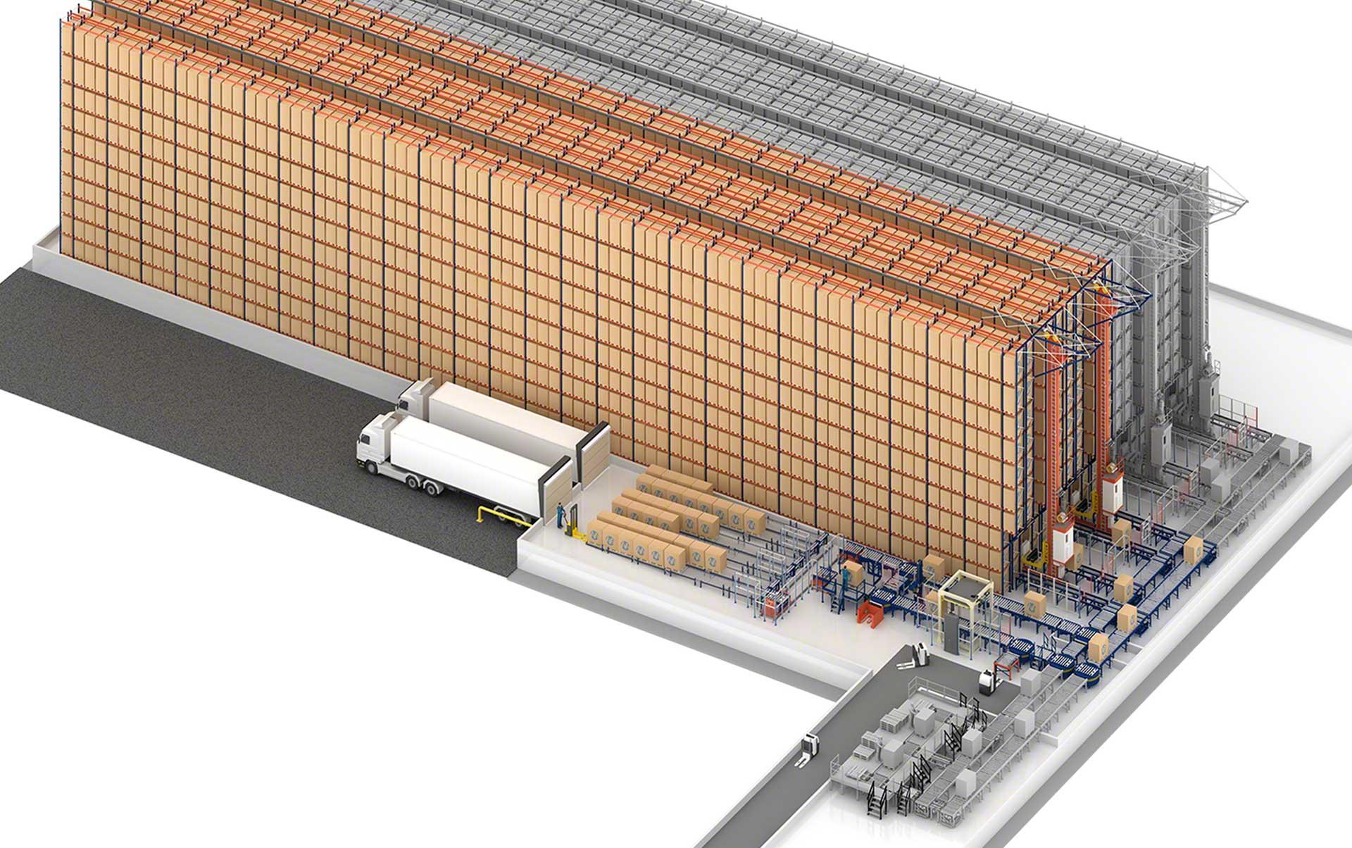 Almacén automático de Sabarot en Francia con capacidad para 6.376 paletas
